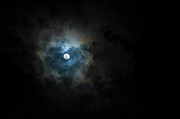 Hong Kong Tapestries Textiles - Full Moon Through The Clouds by Malcolm Ainsworth
