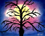 Horror Pastels Framed Prints - Full moon  wild Tree Framed Print by Jalal Gilani