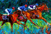 Kentucky Derby Prints Posters - Full Speed Poster by Debra Hurd