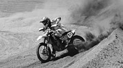 Pala Raceway Framed Prints - Full Throttle Monochrome Framed Print by Bob Christopher