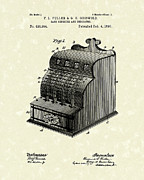 Antique Artwork Posters - Fuller and Griswold Cash Register 1890 Patent Art Poster by Prior Art Design