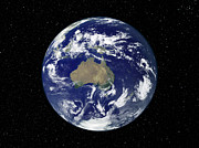 Planet Map Prints - Fully Lit Earth Centered On Australia Print by Stocktrek Images