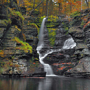 Falls Art - Fulmer Falls In Autumn by Stephen  Vecchiotti