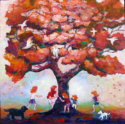 Just Painting Originals - Fun around Our Favorite Tree by Naomi Gerrard
