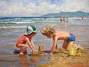 Children At Beach Posters - Fun at the beach Poster by Roelof Rossouw