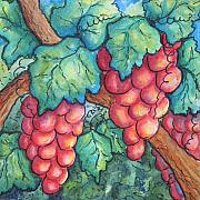 Napa Valley Vineyard Paintings - Fun Grapes by Conni  Reinecke