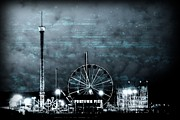Amusement Rides Posters - Fun in The Dark - Jersey Shore Poster by Angie McKenzie