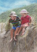 Silk Drawings - Fun in the Dunes by Karen Hull