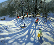 Mountain Valley Painting Framed Prints - Fun in the Snow Framed Print by Andrew Macara