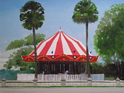 Amusement Park Ride Painting Originals - Fun In The Sun Carousel by Robert Rohrich