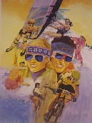 Hockey Painting Originals - Fun in the Sun by Chuck Hamrick