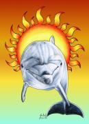 Dolphin Posters - Fun in the Sun Poster by Sheryl Unwin
