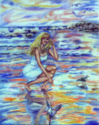 Seagull Drawings Metal Prints - Fun in the Sun Metal Print by Yelena Rubin