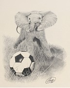 Soccer Drawings Originals - Fun is having a Ball by Albert Casson