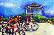 Bicycling Paintings - Fun Time in Bicycling by Mitzi Lai