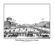 Abraham Lincoln Drawings Posters - Funeral Obsequies Of President Lincoln Poster by War Is Hell Store