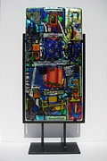 Orange Glass Art Originals - Funhouse by Mark Lubich