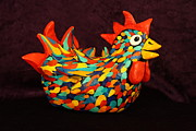 Chicken Sculpture Framed Prints - Funky Chicken Original Art Sculpture Framed Print by Lisa Frances Judd