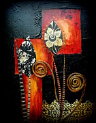 Flowers Mixed Media Originals - Funky Flowers by Donna Martin