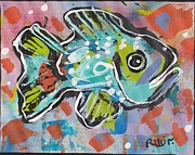 Modernism Mixed Media Framed Prints - Funky Folk Fish 2012 Framed Print by Robert Wolverton Jr