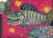 Outsider Art Mixed Media - Funky Folk Fish by Robert Wolverton Jr
