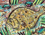 Seafood Posters - Funky Folk Flounder Poster by Robert Wolverton Jr