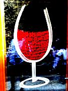 Lyon Prints - Funky French Red Wine Glass Print by Funkpix Photo  Hunter
