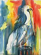 Waterfowl Paintings - Funky Pelican by Tara Moorman
