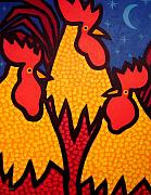 Cocks Acrylic Prints - Funky Roosters Acrylic Print by John  Nolan