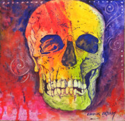 Funky Paintings - Funky skull by Chuck Creasy