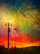 Streetlamp Posters - Funky Sunset Poster by Tara Turner