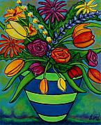 Lisa Lorenz Painting Metal Prints - Funky Town Bouquet Metal Print by Lisa  Lorenz