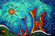 Sun Flowers Framed Prints - FUNKY TOWN Original MADART Painting Framed Print by Megan Duncanson