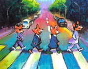 Whimsical Drawings Posters - Funny Abbey Road Pembroke Welsh CORGI dogs painting Poster by Svetlana Novikova