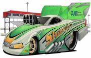 Drag Mixed Media Posters - Funny Car Toon Poster by Lyle Brown