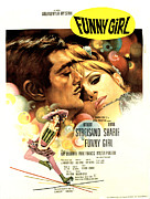 Roller Skates Photo Prints - Funny Girl, Omar Sharif, Barbra Print by Everett