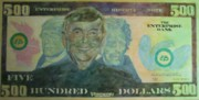 Statue Portrait Paintings - Funny Money by Claire Gagnon