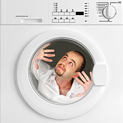 Man Machine Framed Prints - Funny Portrait Of Man Inside Washing Machine Framed Print by Gualtiero Boffi