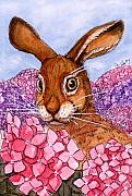 Rabbit Mixed Media Prints - Funny Rabbits - Hortensias  Print by Svetlana Ledneva-Schukina