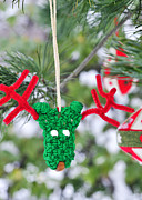 Hand Made Art - Funny Reindeer Ornament on pine tree by Marianne Campolongo