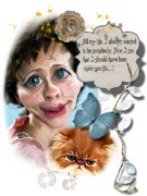 Gifts Mixed Media Originals - Funny Woman with a Cat by Larisa Isaeva