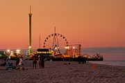 Beach Sunsets Framed Prints - Funtown Pier At Sunset I - Jersey Shore Framed Print by Angie McKenzie