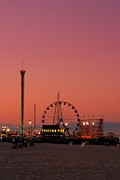 Ocean Poster Prints Posters - Funtown Pier At Sunset II - Jersey Shore Poster by Angie McKenzie