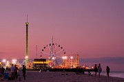 Jersey Shore Posters - Funtown Pier At Sunset III - Jersey Shore Poster by Angie McKenzie