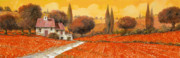 Vacation Painting Posters - fuoco di Toscana Poster by Guido Borelli
