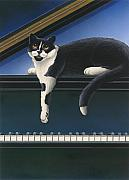 Black And White Cats Paintings - Fur Neil - Cat on Piano by Carol Wilson
