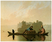 American Painters Framed Prints - Fur Traders Descending the Missouri Framed Print by George Caleb Bingham