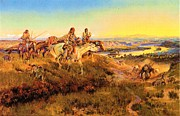 Great Plains Painting Posters - Fur Traders Poster by Pg Reproductions