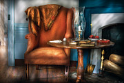 Fireplace Photos - Furniture - Chair - Aunt Ruthies Chair  by Mike Savad