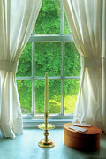 Gloves Posters - Furniture - Lamp - Still life in a window  Poster by Mike Savad